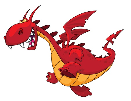the red dragon: illustration of a big red dragon