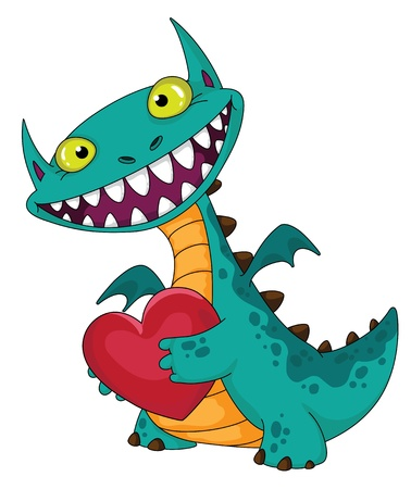 illustration of a laughing dragon and heart