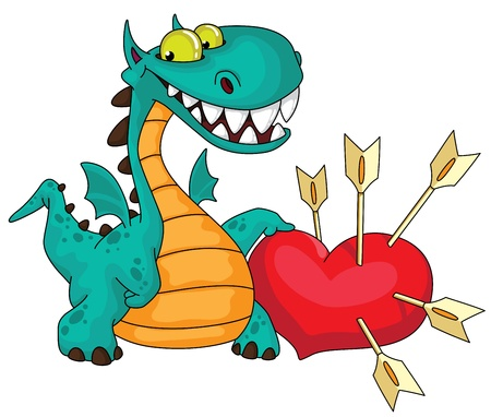 legends folklore: illustration of a great dragon and heart