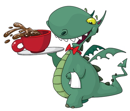 prehistoric: illustration of a funny waiter with coffee