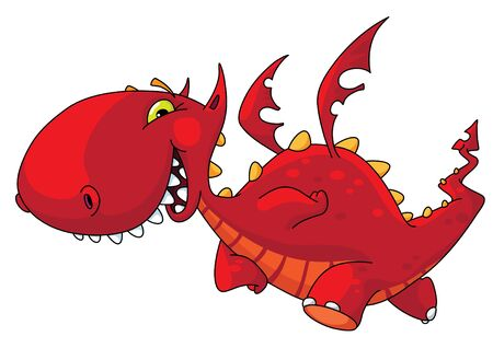 An illustration of a funny red dragon