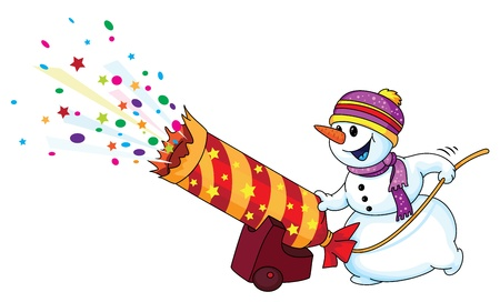 snowman cartoon: Illustration of a holiday snowman