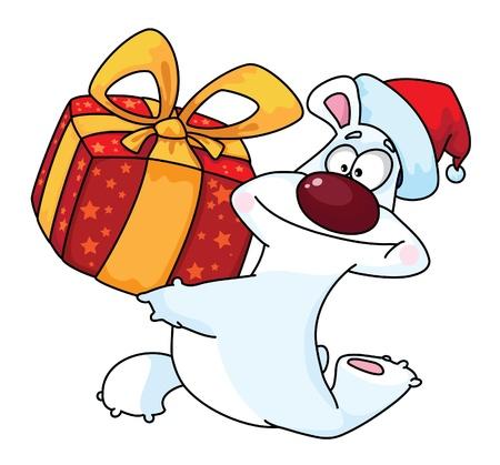 illustration of a polar bear and gift box Vector