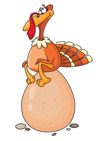 Illustration of a turkey and egg Vector