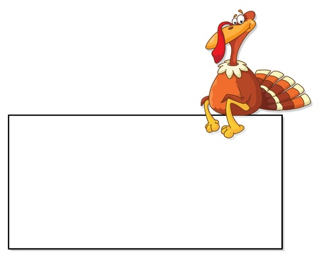 thanksgiving turkey: illustration of a turkey and blank Illustration