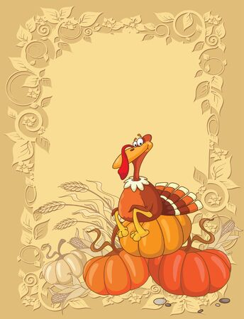 wheat harvest: illustration of a turkey and pumpkin background