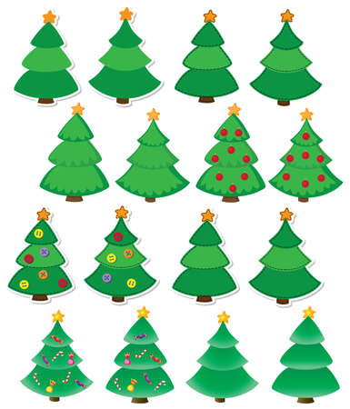 christmas tree set: illustration of a Christmas tree set Illustration