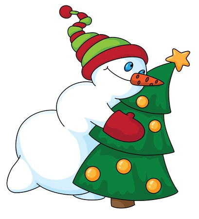 Illustration of a snowman and Christmas tree Stock Vector - 11246125