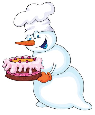 Illustration of a snowman with a cake Vector