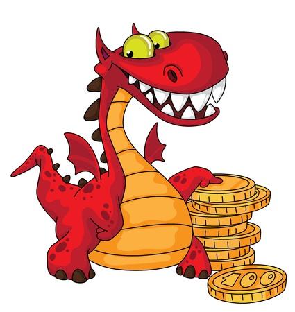 ドラゴンとお金の図  イラスト・ベクター素材