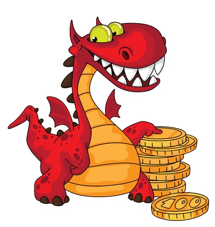 funny monster: illustration of a dragon and money Illustration