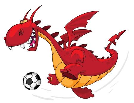 Een illustratie van een draak voetballer