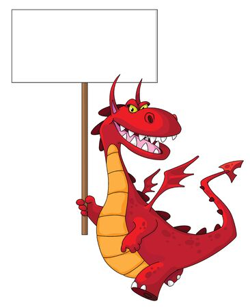 dragon cartoon: illustration of a dragon holding a blank sign