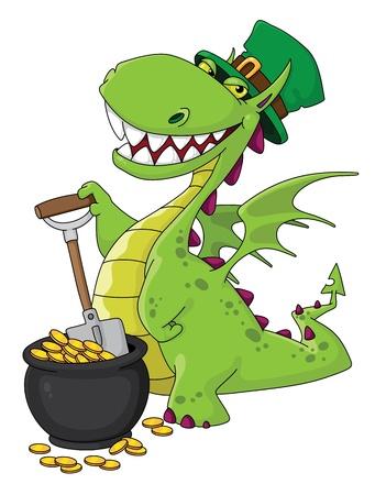 illustration of a dragon Leprechaun Vector