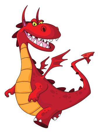 monster cartoon: illustration of a dragon red Illustration
