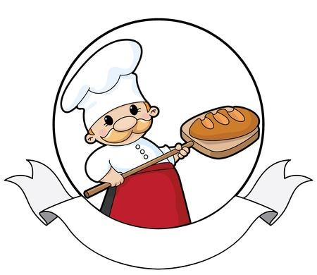 panadero: ilustración de un panadero de pan con la bandera Vectores