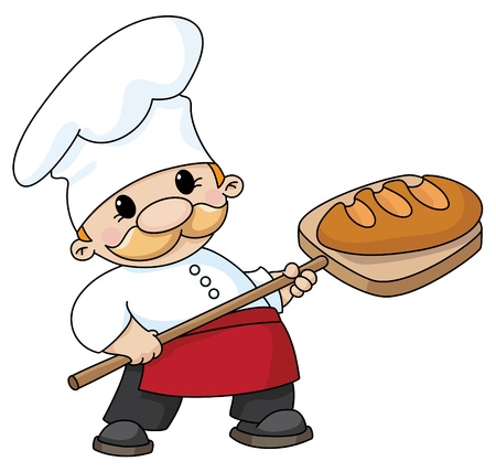 An illustration of a baker with bread Vector