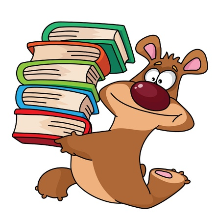 illustration of a bear and books Vector