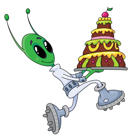 illustration of a alien with cake Vector