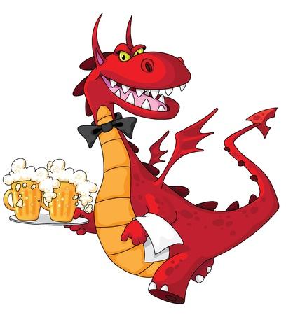 charolas: ilustración de un dragón camarero con cerveza Vectores