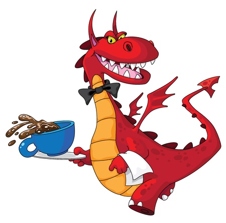 illustration of a dragon waiter with cup Stock Vector - 11514530