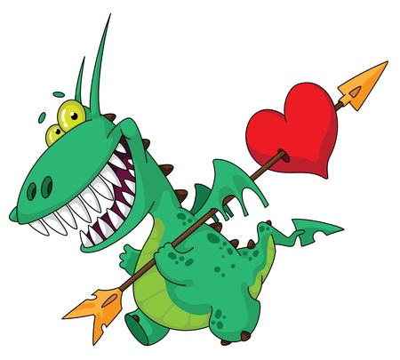 dragon cartoon: illustration of a funny dragon with heart Illustration