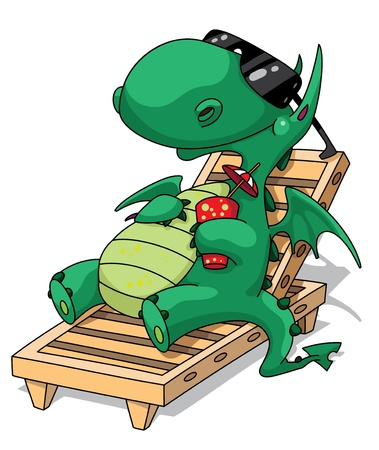 illustration of a funny relaxation dragon Çizim