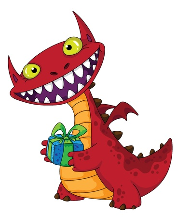 illustration of a laughing dragon and gift Vector