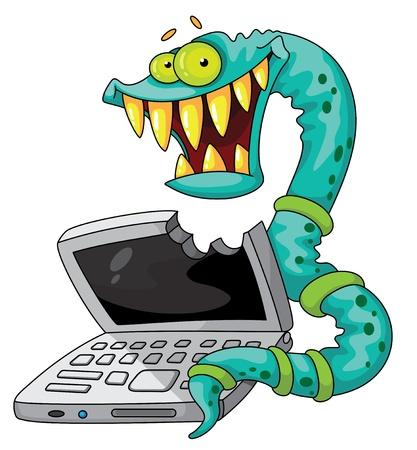 virus informatico: ilustración de un gusano de TI