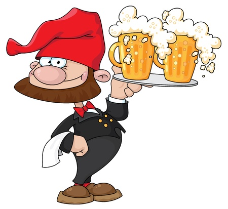gnome: illustration of a waiter gnome with beer