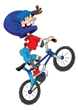 Cartoon illustration of young bicyclist in helmet