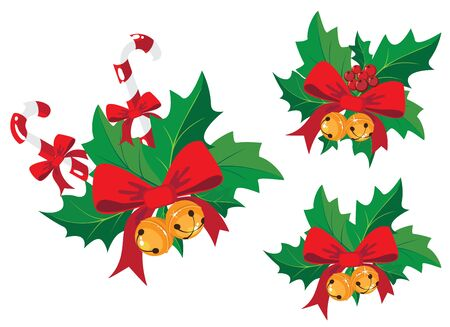 illustration of a christmas decoration with holly Vector