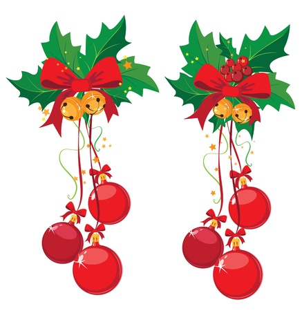 illustration of a holly with berries and Christmas ball Vector
