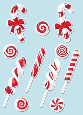 candy cane: illustration of a set of Christmas candy sticker