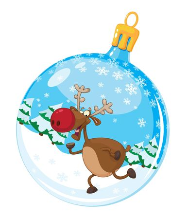 running reindeer: illustration of a christmas ball with deer