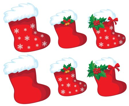 illustration of a christmas stocking set Illustration