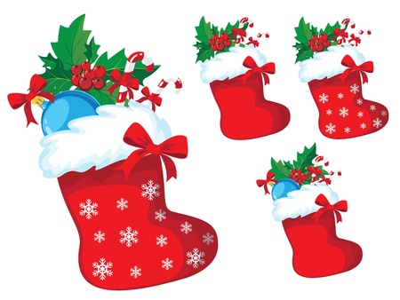 illustration of a christmas stocking with holly set Vector