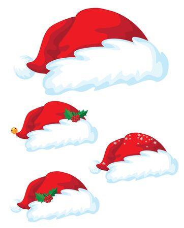 illustration of a Santa claus hat set Vector