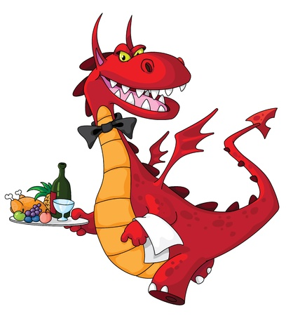 illustration of a dragon waiter with food tray