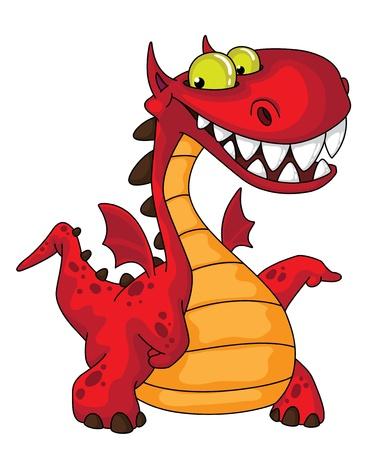 dragon rouge: illustration d'un grand dragon