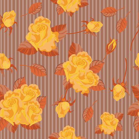 gele rozen: illustratie van een naadloze gele rozen