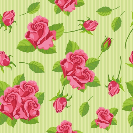 rosebud: illustration of a seamless roses Illustration