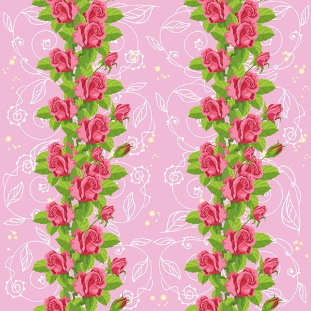 rose bud: illustration of a seamless roses soft pink