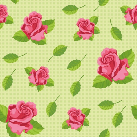 illustration of a seamless roses green Vector