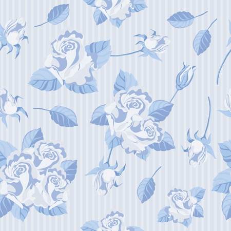 illustration of a seamless roses blue Vector