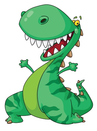 reptile: Illustration of a cheerful dinosaur