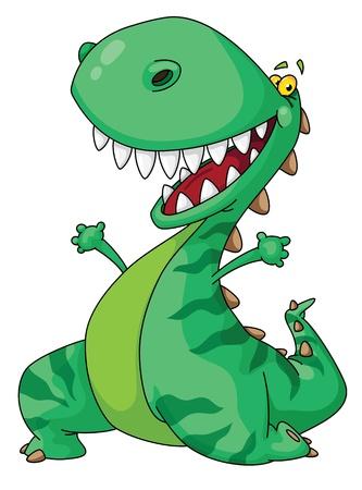dinosauro: Illustrazione di un dinosauro allegro