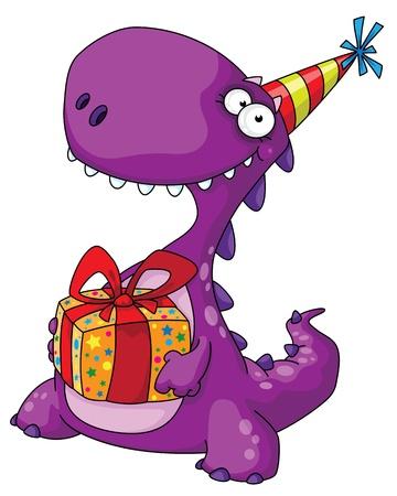 dinosaurio caricatura: ilustración de un dinosaurio y un regalo
