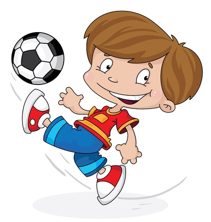 football games: illustration of a boy with a ball