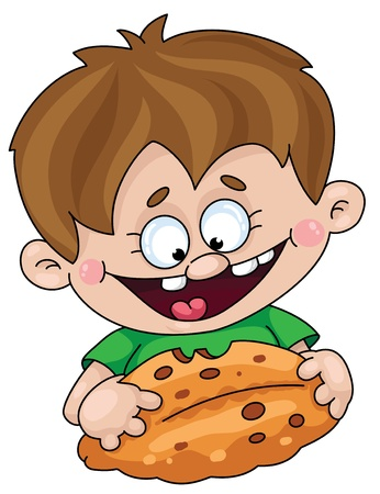 children eating: Illustration of a boy with a pie Illustration